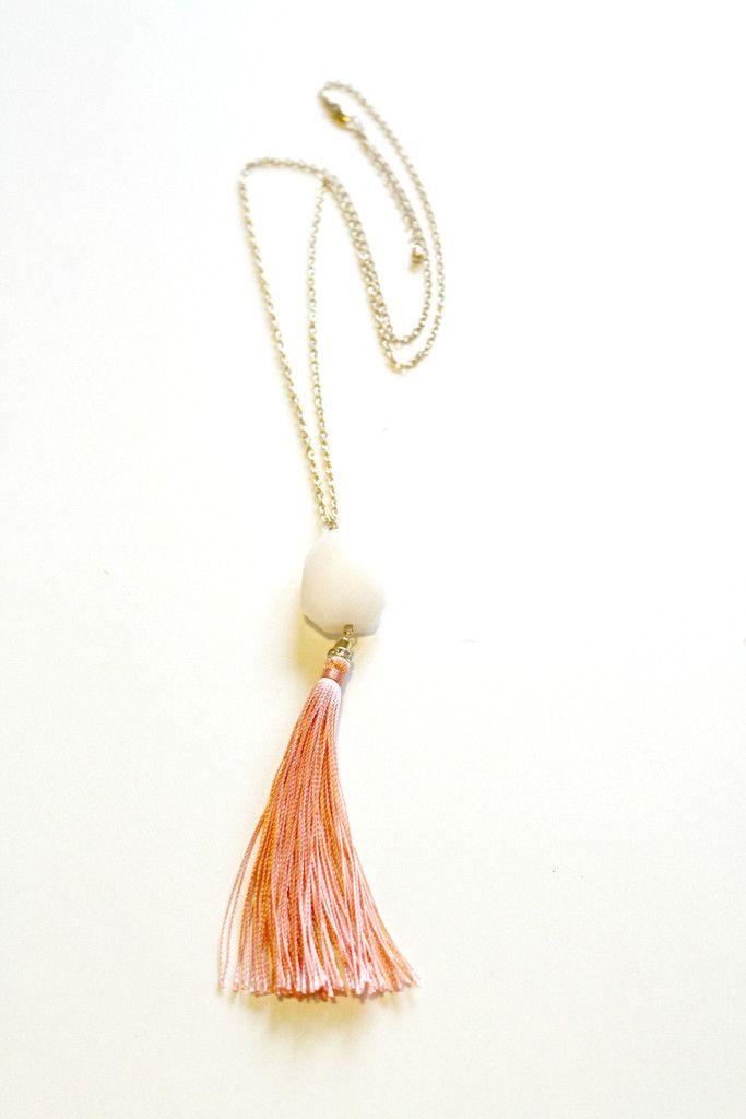 Boho Glam Tassel Necklace - Coral