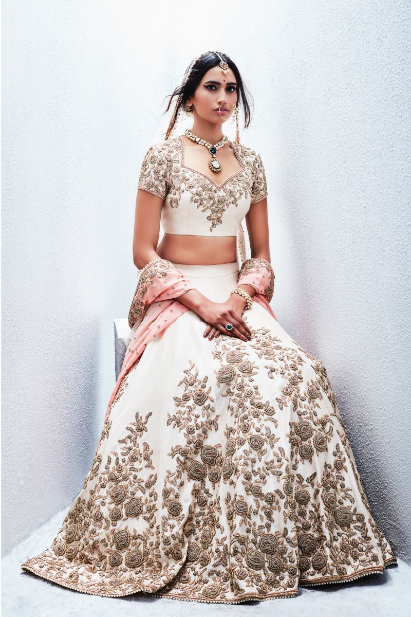 650c423d6201a2 White Lehenga with Silver Zardosi Work and Pink Dupatta in 2019 | 1 ...