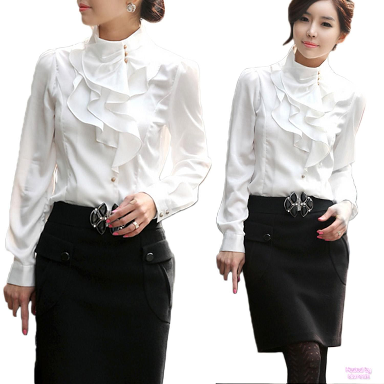 Details about Beige/Purple/White Womens Office Shirt Ladies Work ...