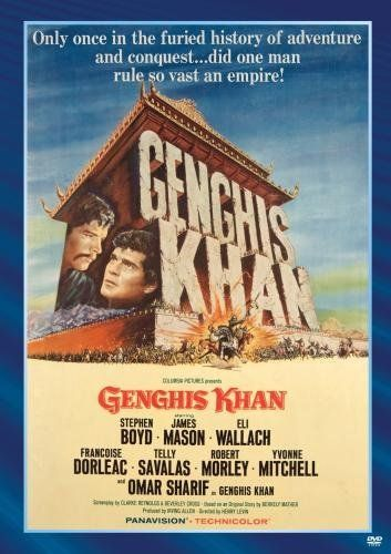 Directed by Henry Levin.  With Stephen Boyd, Omar Sharif, James Mason, Eli Wallach. During the 13th century the shy Mongol boy Temujin becomes the fearless leader Genghis Khan who unites all Mongol tribes and conquers most of Asia, Europe and the Middle-East.