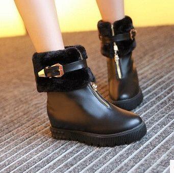 Women new fashion autumn winter hidden heels preppy style casual warm fur boots shoes large plus size 40-43