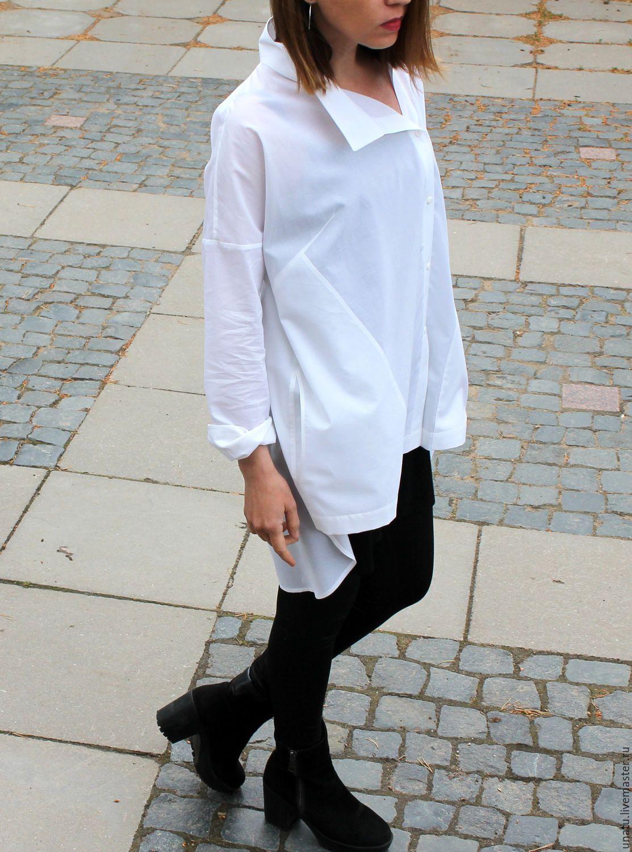 6b8491e92db40ad Рубашка женская, белая, хлопок - купить или заказать в интернет-магазине на  Ярмарке