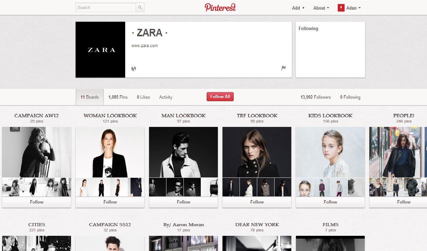"""Zara maakt gebruik van pinterest om hun collectie uitgebreid te laten zien. Zo maakten ze een board voor heren dames en kinderen aan.  Ook zochten ze foto's van mensen die kleren van Zara dragen om deze onder de rubriek """"People"""" te herbergen."""