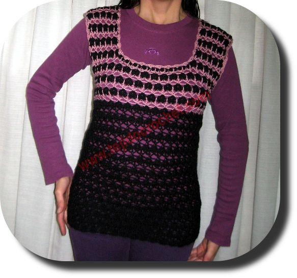 Chaleco largo en tejido crochet | Chalecos, sueters, polerones para ...