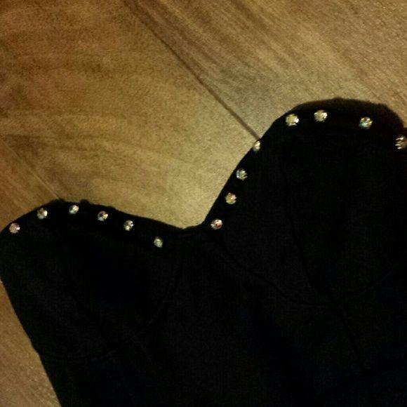 Motel Rocks jewel-studded bustier maxi dress XS Cute strapless maxi dress by motel rocks. featuring jewel-lined bust. mesh backside. dress is double layered, slip and chiffon top. size XS. good condition. Motel Rocks Dresses Maxi