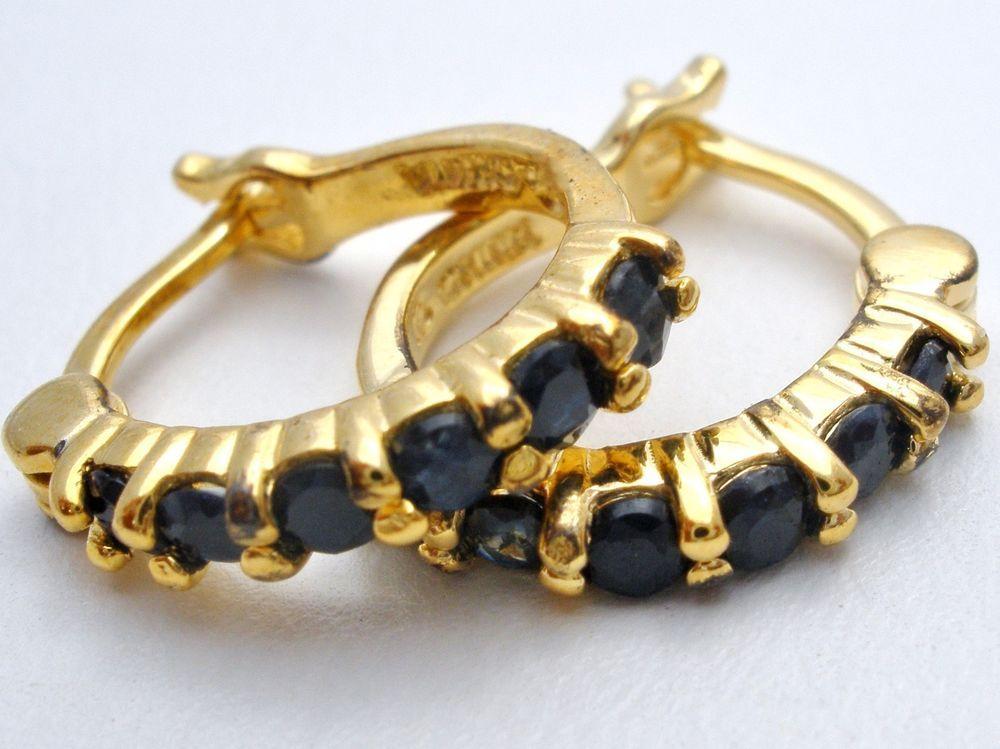 Ross Simons Sterling Silver Sapphire Hoop Earrings 18K Gold Plated Dark Blue 925   Jewelry & Watches, Fine Jewelry, Fine Earrings   eBay!