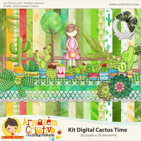 Kit digital Cactus time - Armazém criativo
