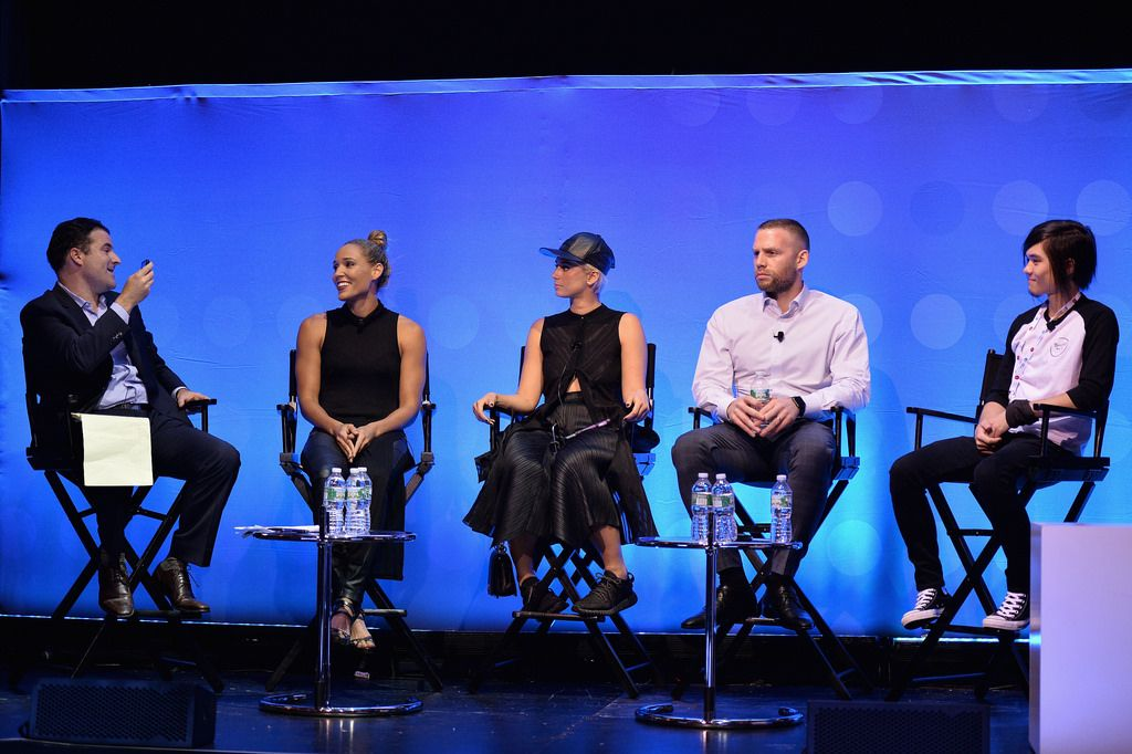 #AWXII - Advertising Week:   ESPN/ABC News Correspondent Darren Rovell, Olympic Athlete Lolo Jones, Internet Personality Julz Goddard, Founder + CEO of Laundry Service Jason Steinand and Intrernet Personality Matt Stonie speak onstage at the How Social Media is Revolutionizing Celebrity