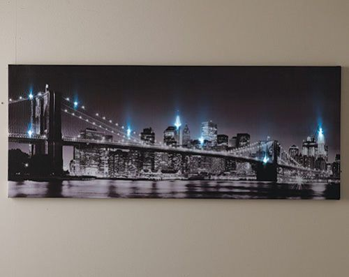 Led Light Up New York Brooklyn Bridge Canvas Picture Wall Hanging Usa Art Canvas Picture Walls Picture Wall Canvas Pictures