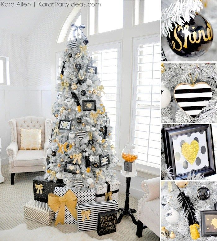 white gold and silver decorated christmas trees
