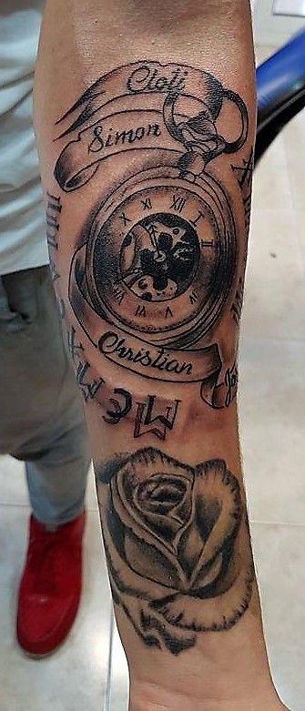 Tatuaje Antebrazo Hombre Reloj Tiempo Rosa Tattoo Rose Clock Time