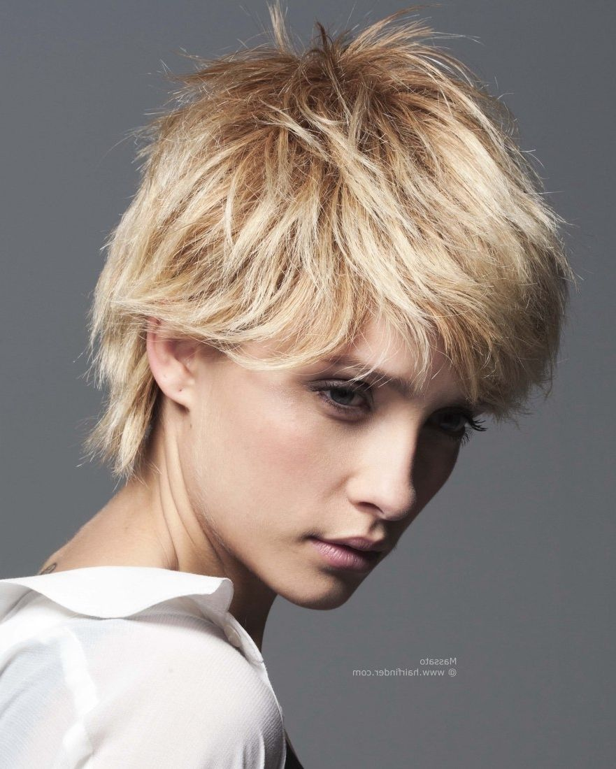 feminine boy cut with the cropped hair layered in the neck