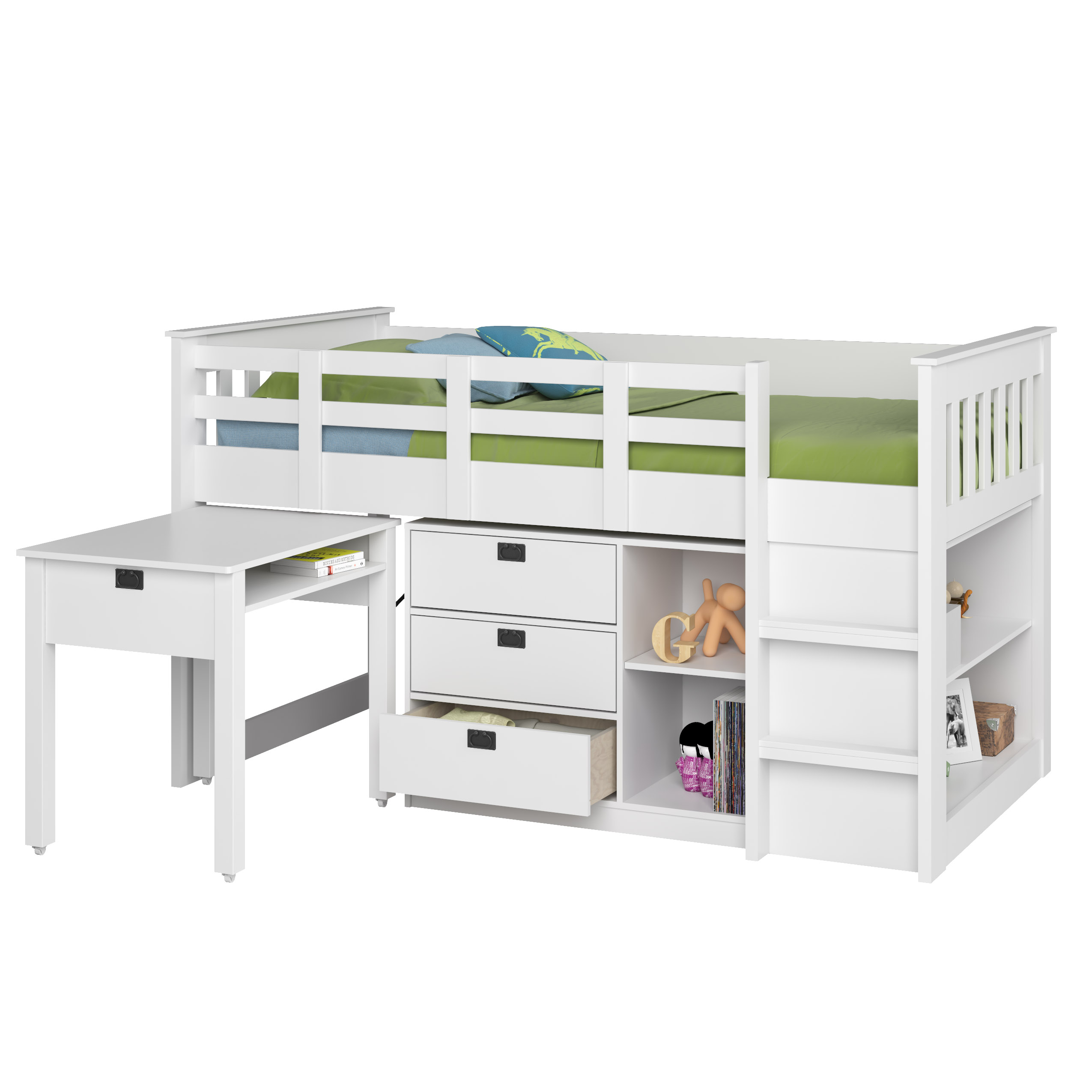 kids white finish twin low loft with desk chest bookcase sears