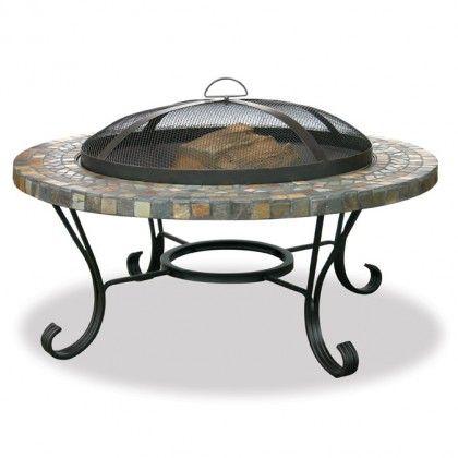 "UniFlame 34"" Slate Tile/Copper Outdoor Firebowl - backyard patio"