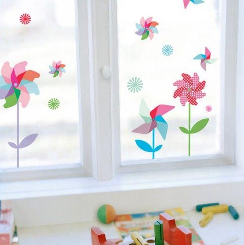 Sommer herbst windrad fenster ideen f r kreidebilder pinterest basteln basteln - Fensterdeko sommer ...