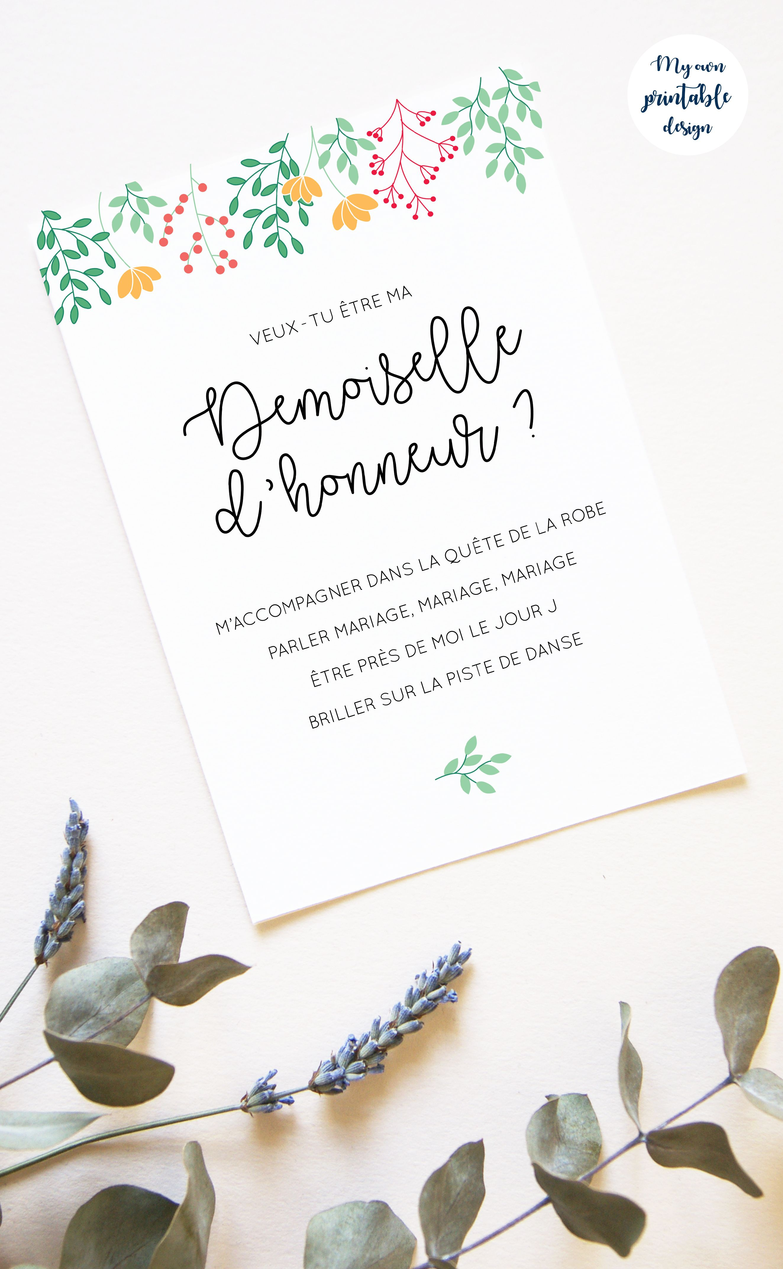 Veux-tu être ma demoiselle d/'honneur demoiselle d/'honneur Invitation Invite carte personnalisé