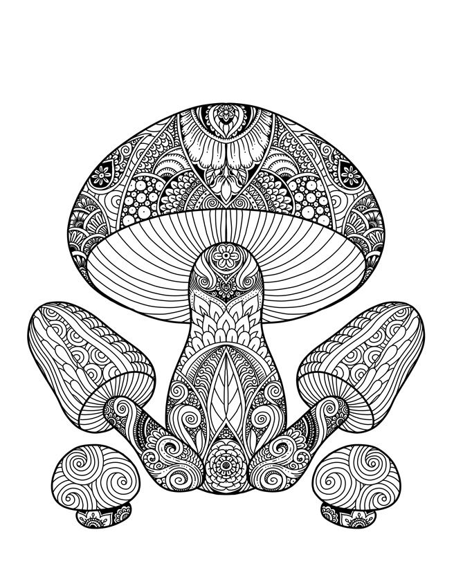 Mushrooms Doodle Art Adult Coloring Page   Adult Coloring ...