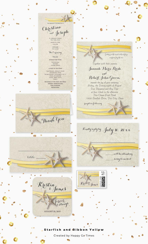 Yellow beach theme wedding with yellow ribbon and starfish rustic ...