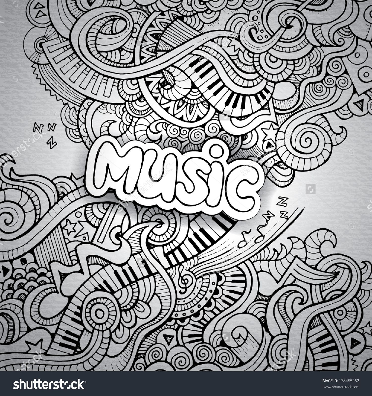music sketchy notebook doodle shutterstock 178455962 music