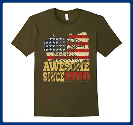 Mens Awesome Since 2010 American Flag 7th Birthday 7 Years Old 2XL Olive