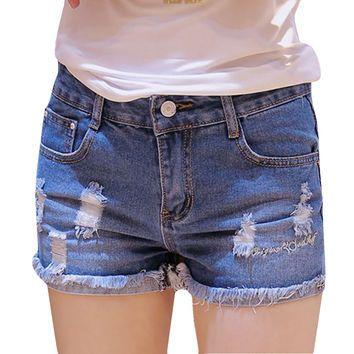 2016 Design Fashion Mid Waist Harem Skinny jeans shorts women Size 26-31 Jeans Shorts For Women SH0642
