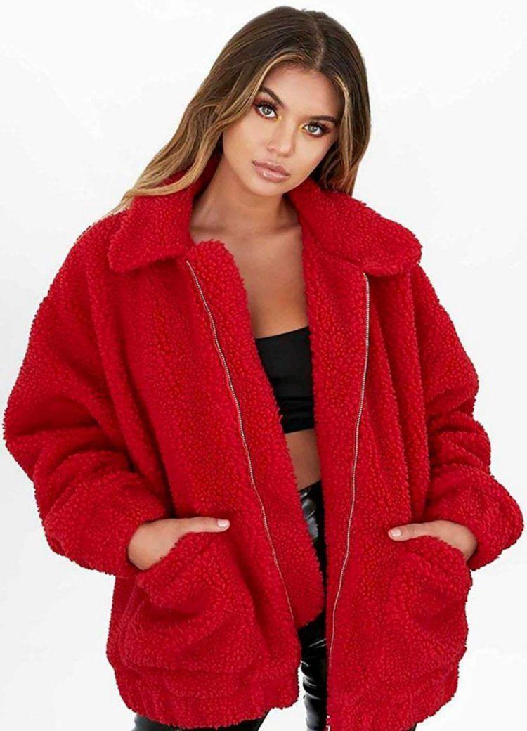 cbe293cf5 PRETTYGARDEN Women's Fashion Long Sleeve Lapel Zip Up Faux Shearling Shaggy  Oversized Coat with Pockets Warm