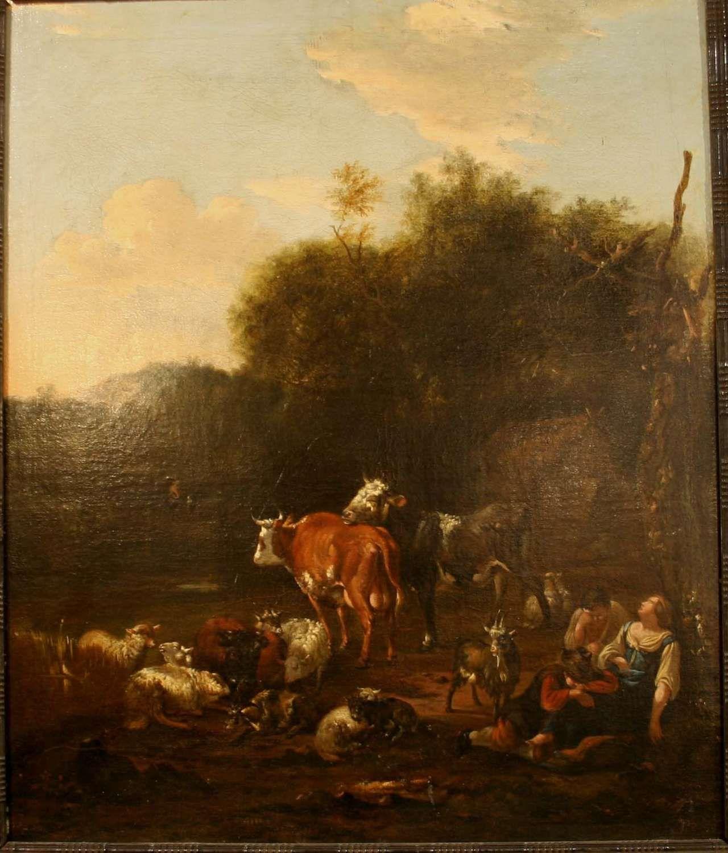 """CARRÉE, Michiel (1657 den Haag bis 1727 ebenda), """"Kuhhirten bei der Rast"""", Öl auf Leinwand. Zusammengehöriges Gemäldepaar mit aufwändiger Szenerie in herbstlicher Landschaft. Im Hintergrund teilweise Ruinen und weiter entfernt sind einige Gebirge zu erkennen. Eines der Gemälde ist unten links signiert M. Carrée und datiert 1662 (?). Im unrestaurierten Originalzustand, feine Craquellée, stimmige alte Rahmen, diese teilweise bestoßen. Beide Keilrahmen tragen den Aufduck 934YN, einer zusätzlich…"""
