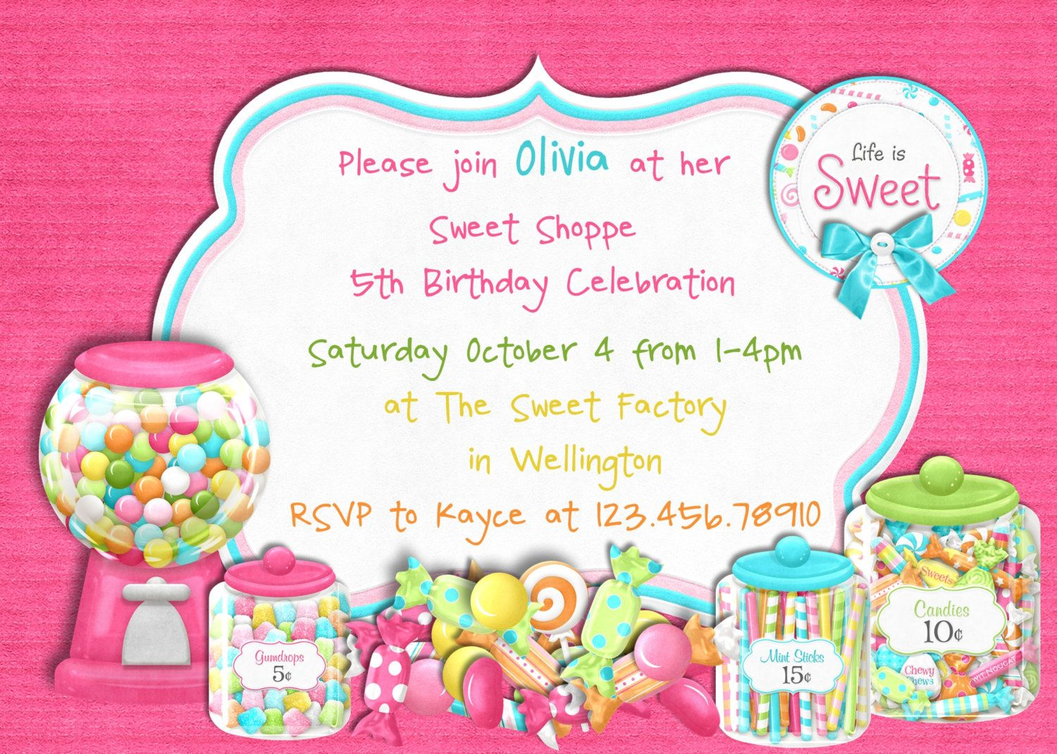 Cool FREE Template Candy Themed Birthday Party Invitations | Baby ...