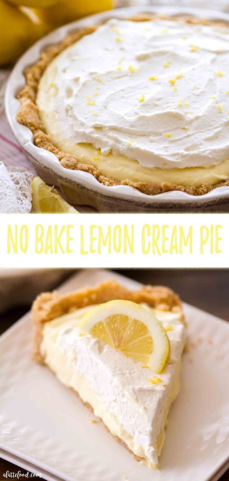 No Bake Lemon Cream Pie This easy No Bake Lemon Cream Pie recipe is a lemon dessert lover's dream