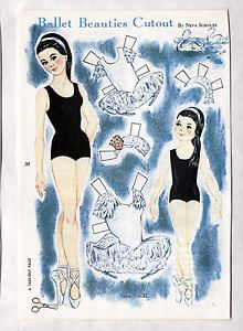 Vintage-BALLET-BEAUTIES-paper-dolls-March-1966-Uncut-Ballerina-Dancers-Swan-Lake