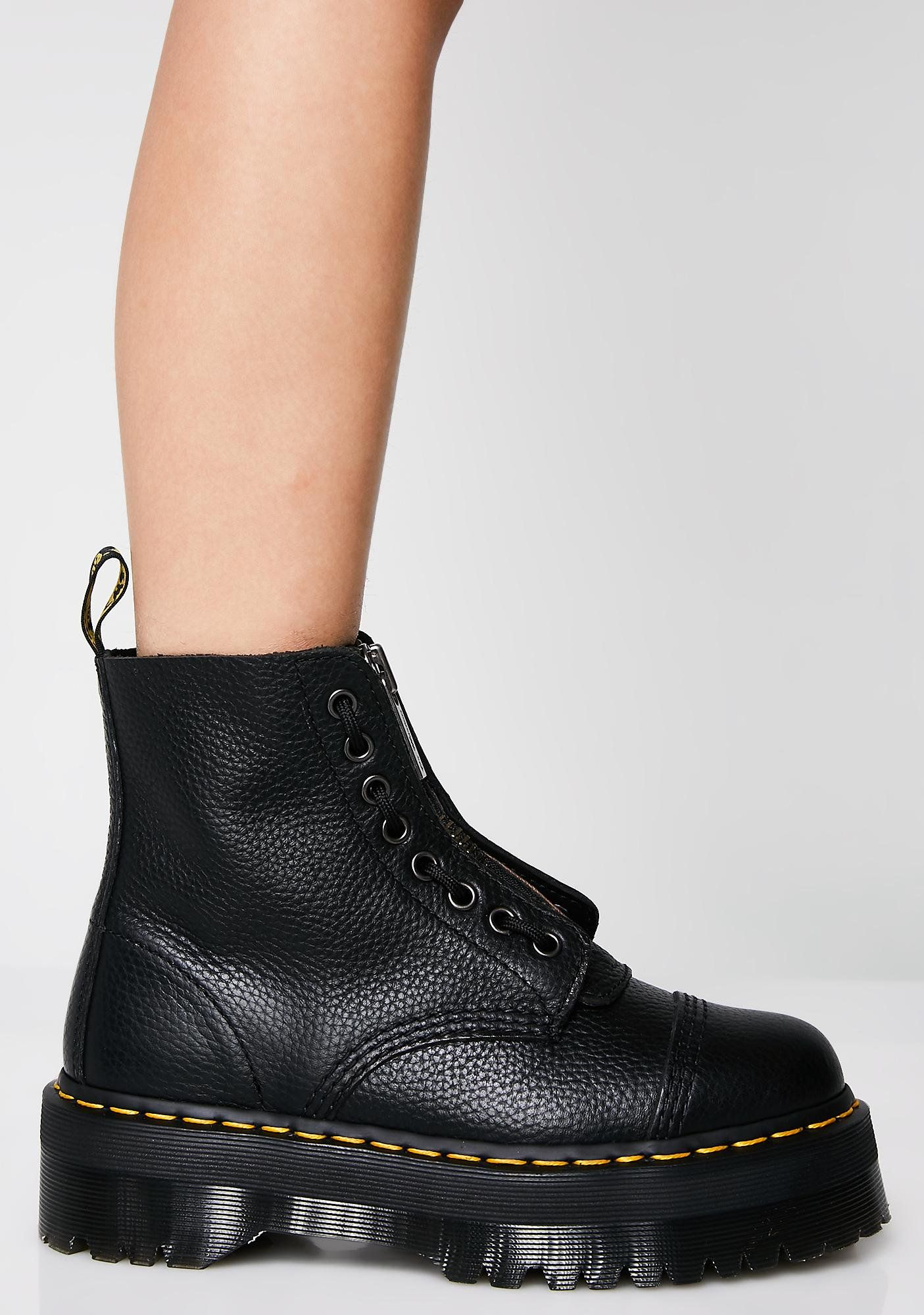 Dr. Martens Sinclair 8-Eye Jungle Boots will have ya stompin  out your  enemies. These sikk black combat boots have thikk platform soles and a  front zipper ... 4b2460e7358e