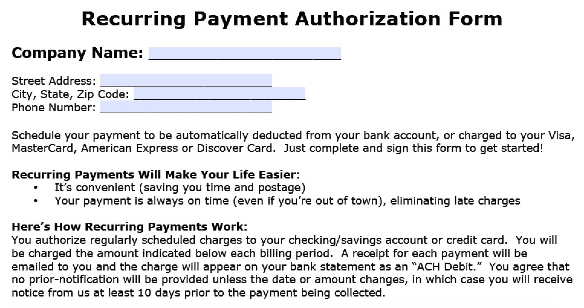 Download Recurring Payment Authorization Form Template Throughout Credit Card Billing Authorization Form Template In 2020 Good Credit Credit Card Payment Credit Card