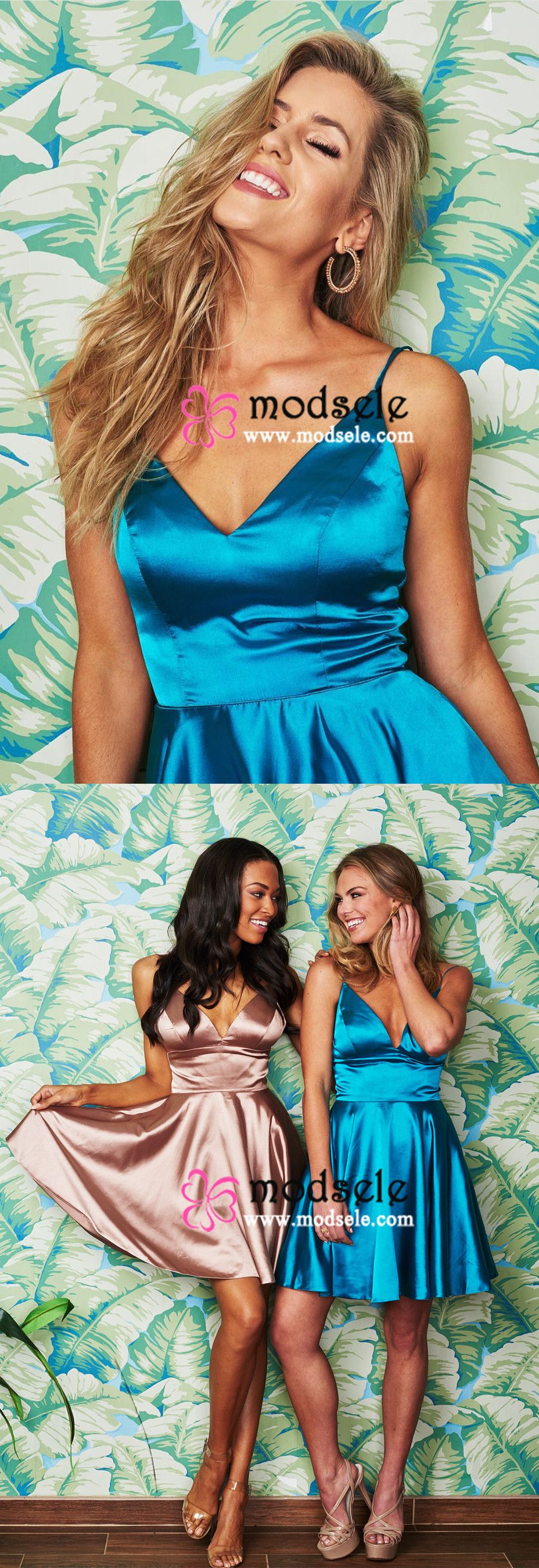 Short champagne homecoming dress blue homecoming dress with pockets