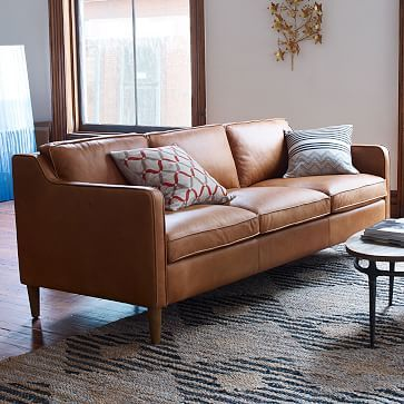 Hamilton Leather Sofa Westelm 81 L X 36 D X 35 H Dimensions Total Height 40 Depth Upright 31 Brown Living Room Living Room Sofa Trendy Living Rooms