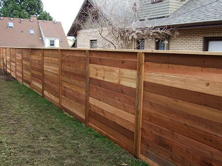 I Like The Look Of The Horizontal Fence This Cedar Wood