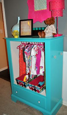 Convert a dresser into a wardrobe closet for  dress up clothes.  Great idea for all of Addy's beautiful costumes.