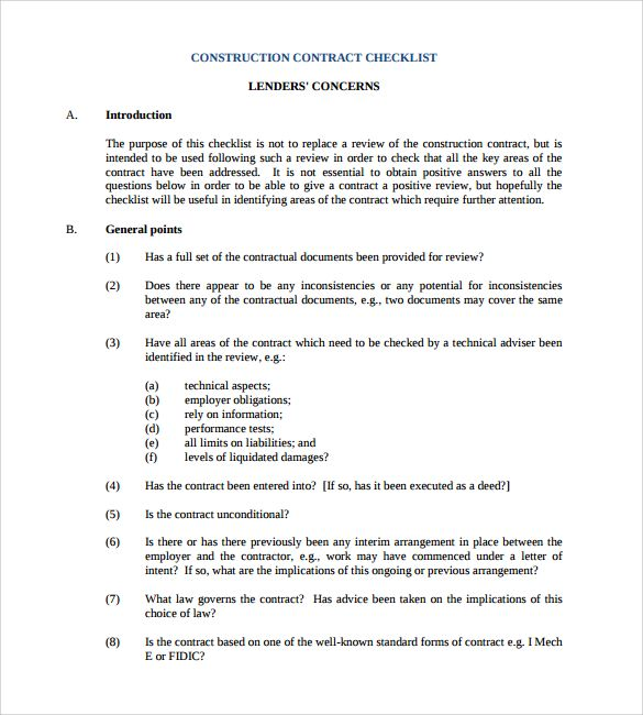 construction contract checklist template , 8+ Construction - commercial agreement format
