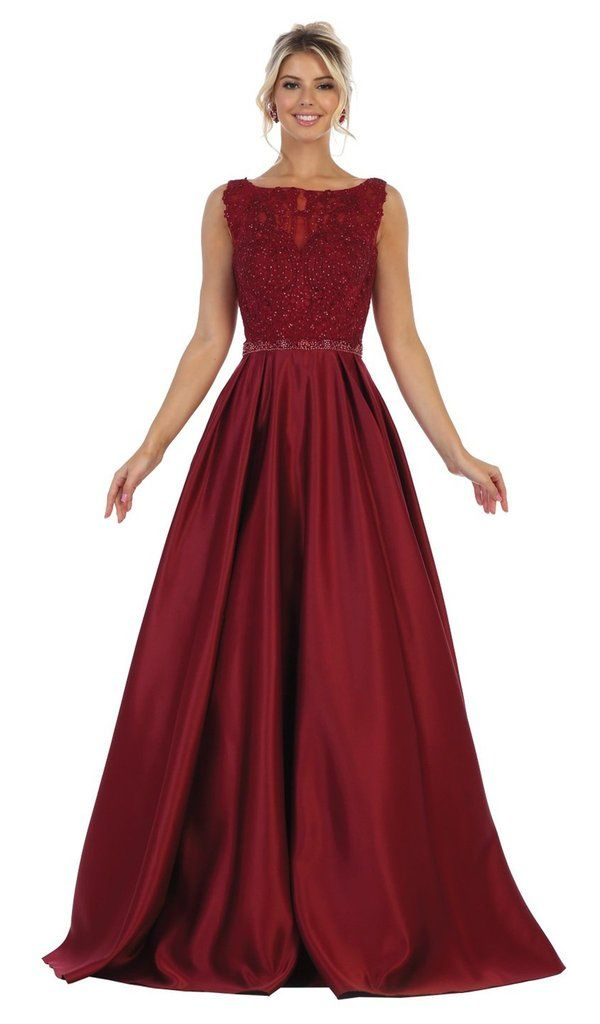 may queen - rq7744 sleeveless embellished bateau ballgown
