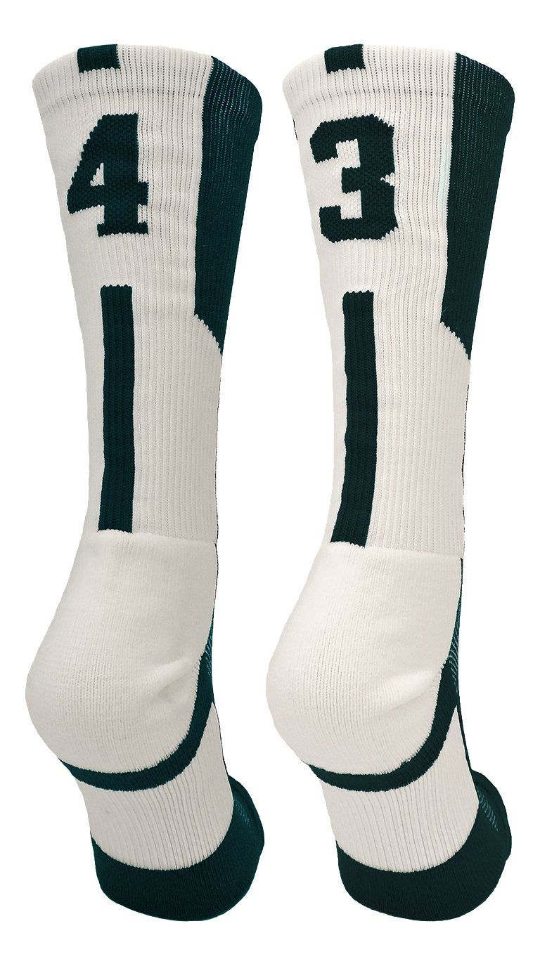 2808df4914b8 Player Id Dark Green White Number Crew Socks (Pair)