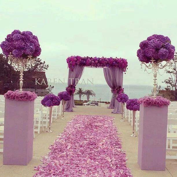 Purple Wedding Arch Decoration Ideas: Purple Setting Pink Setting Beach Wedding Outdoor Wedding