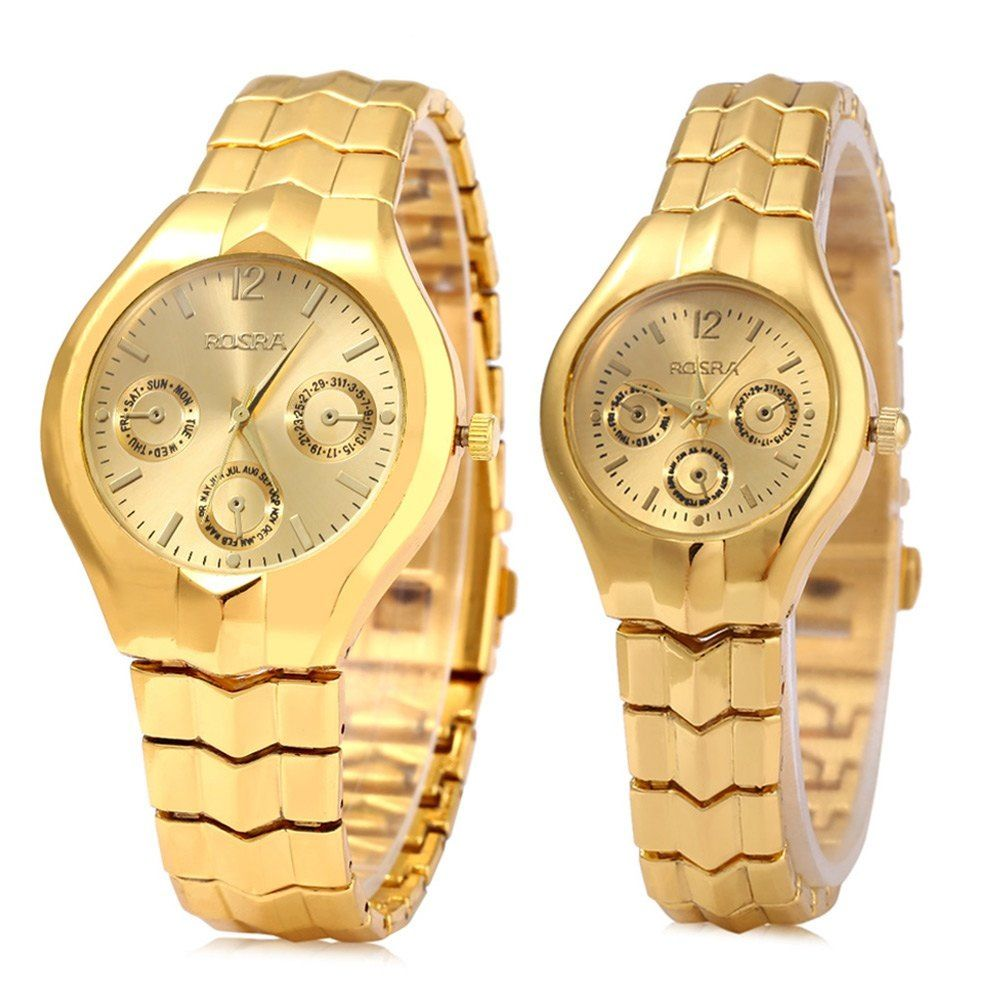 2c553ea5c66 ROSRA 909 Couple Quartz Watch Round Dial Stainless Steel Band Decorative  Sub-dial