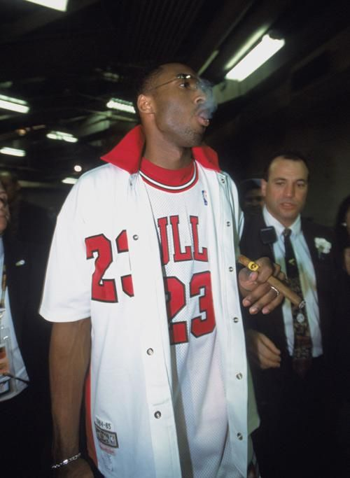finest selection accf4 d0aa6 Kobe rocking the Jordan jersey and smoking a cigar