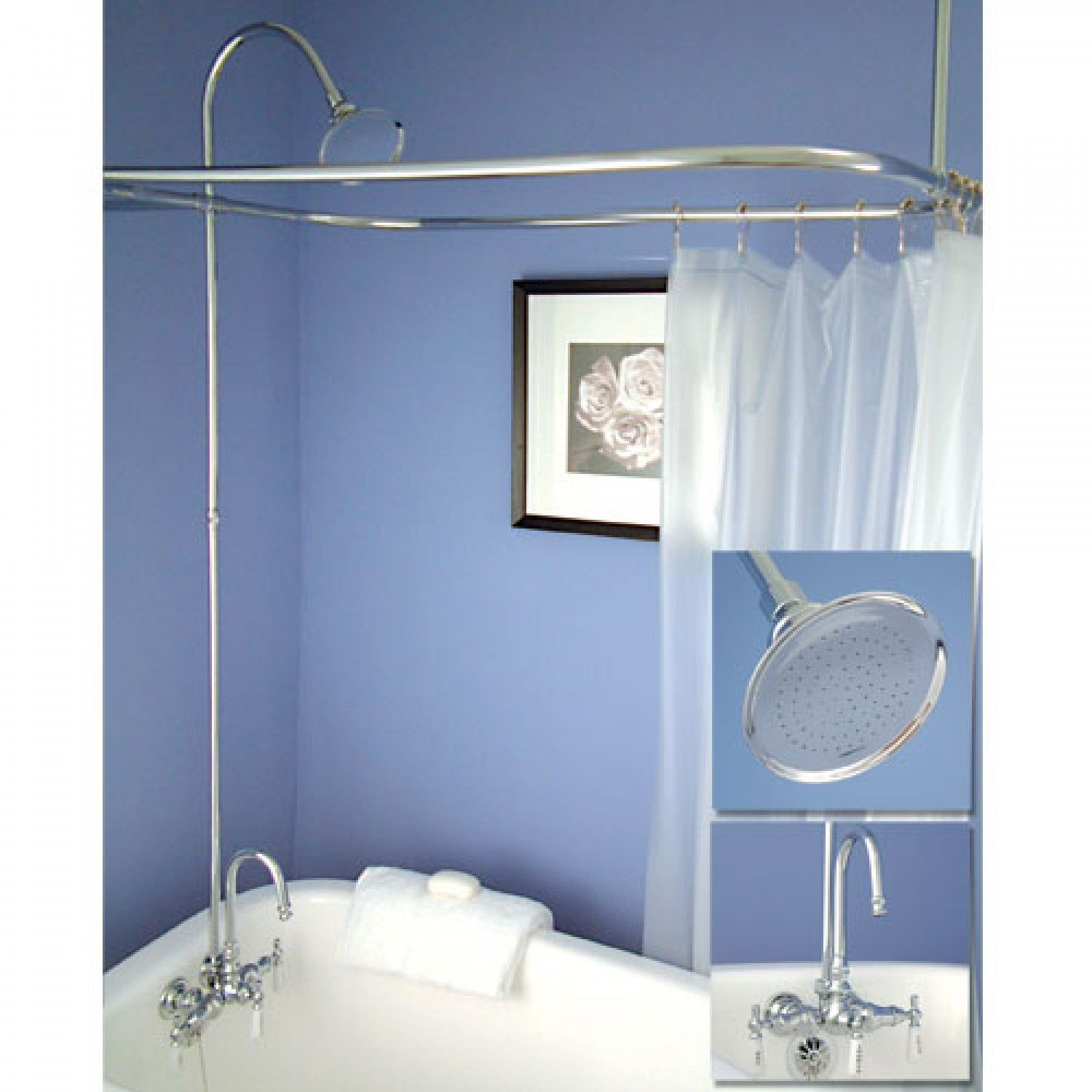 Gooseneck Clawfoot Tub Shower Conversion Kit | Clawfoot tub shower ...