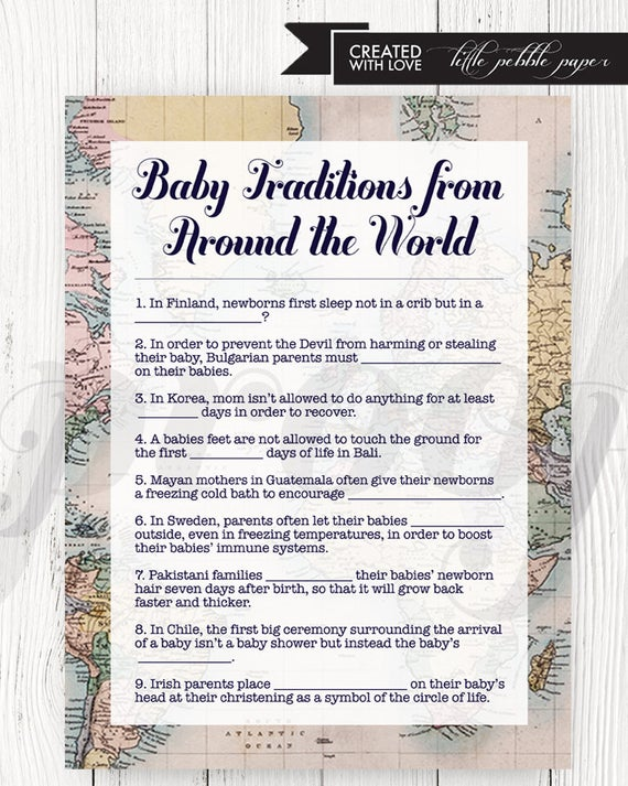 Baby Traditions Around the World Shower Game, Printable, Baby Shower Games, Baby Traditions, Gender Neutral, Welcome to the World, Travel -   - #Baby #BabyShowersboy #BabyShowersdecorations #BabyShowersgames #BabyShowersgirl #BabyShowersideas #BabyShowersthemes #game #Games #Gender #Neutral #Printable #Shower #temasdeBabyShowers #Traditions #Travel #World