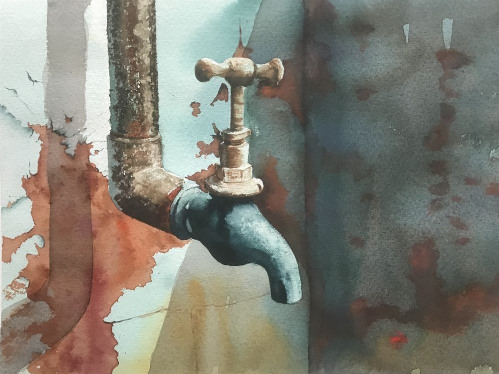 Rusty Tap Watercolour By Brian Ward Art Painting Artist