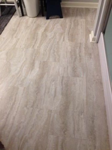Trafficmaster Allure 12 In X 24 In Grey Travertine Vinyl Tile 24 Sq Ft Case 429110 At The Bathroom Makeovers On A Budget Flooring Laundry Room Flooring