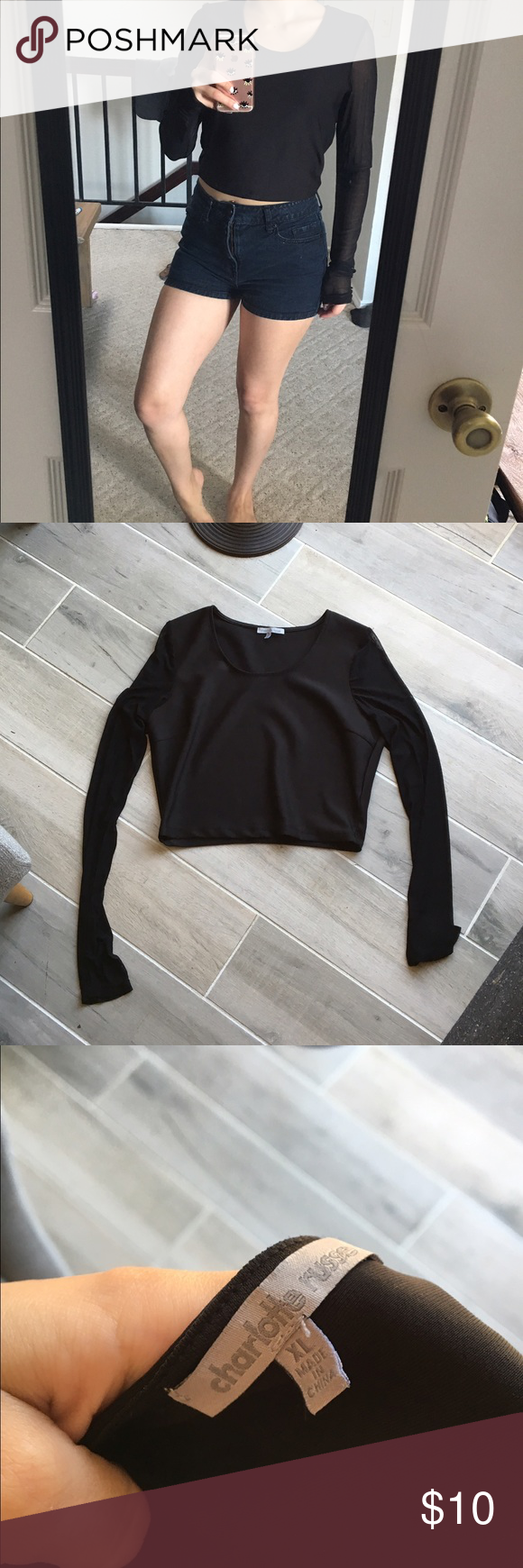 SEE-THROUGH ARMS BLACK TOP Good condition. Arms are see through. Says XL but I'm a small and could pull it off. I would say it's medium Tops Tees - Short Sleeve
