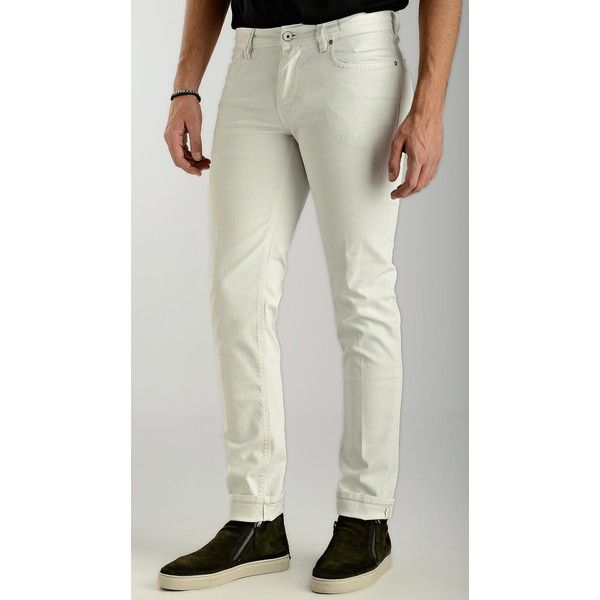 Re-Hash White Cotton Jeans (20970 RSD) ❤ liked on Polyvore featuring men's fashion, men's clothing and men's jeans