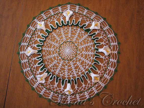 Hand Crocheted Calla Lily Doily for Home Decor by MonasCrochet