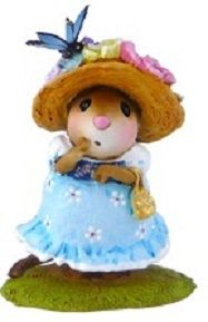 "Petit Papillion M-503 Blue by Wee Forest Folk® The girl with the butterfly hat! Butterflies are a symbol of rebirth, evolution, beauty and more - perfect for spring! Available in pink or blue. Sculpted by Willy.   Item: #M-503 Year Issued: Mar. 2014 Size: 1.5"" x 1""  We offer free shipping on all Wee Forest Folk and the Wee Forest Folk 5/6 Discount Club (excluding store specials)."